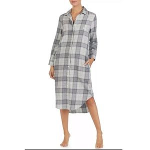 Ralph Lauren Grey Plaid Flannel Nightgown Sz XS